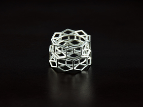 Hexagon - M in Raw Silver
