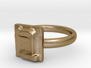 02 Bet Ring in Polished Gold Steel: 7 / 54