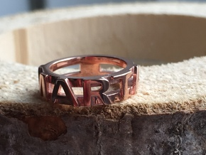 Name Ring (customizable) in 14k Rose Gold Plated Brass