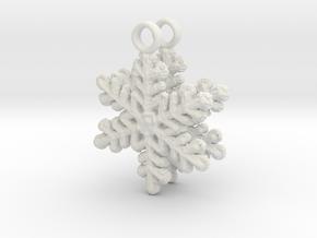 Snowflake Ear Ring Pair in White Natural Versatile Plastic