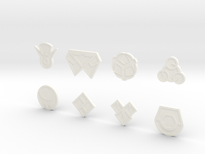 Sinnoh Gym Badges in White Strong & Flexible Polished