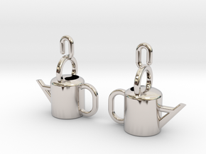 Watering Can Earrings in Platinum