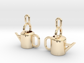 Watering Can Earrings in 14K Yellow Gold