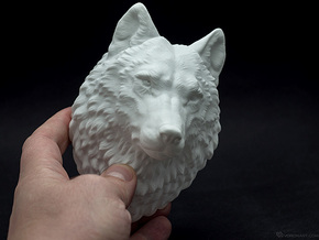Proud Wolf head in White Strong & Flexible