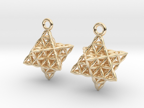 """Flower Of Life Star Tetrahedron Earrings .8"""" in 14k Gold Plated Brass"""