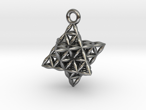 "Flower Of Life Star Tetrahedron Pendant .8"" in Polished Silver"