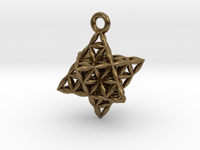 Flower Of Life Star Tetrahedron Pendant in Natural Bronze