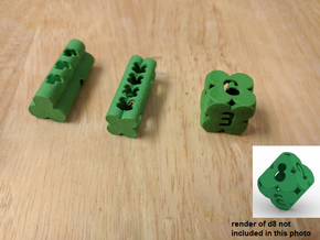 Clover Dice (d3/d4/d6/d8) in Green Processed Versatile Plastic: Polyhedral Set