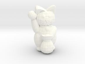 Lucky Cat in White Processed Versatile Plastic