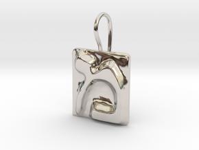 13 Mem Earring in Rhodium Plated Brass