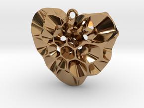 Pollen Heart Pendant V01 in Polished Brass