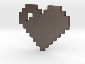8 bit Pixel heart in Stainless Steel: Small
