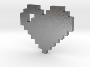 8 bit Pixel heart in Natural Silver: Small