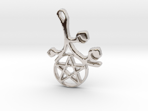 Earthly Spring Pentacle by ~M. in Rhodium Plated Brass