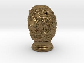 Lion Head, statuette. 10 cm in Natural Bronze