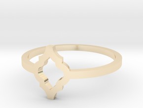 Morroccan Tile Ring Size 8 in 14k Gold Plated Brass