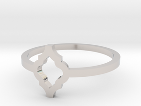 Morroccan Tile Ring Size 8 in Rhodium Plated Brass