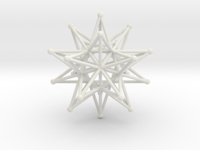 Stellated Icosahedron - 12 stars interlocking in White Natural Versatile Plastic