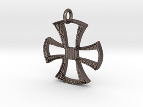 Cross Pendant in Polished Bronzed Silver Steel