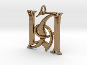 Monogram Initials LA Pendant  in Raw Brass