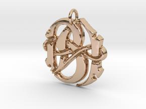 Monogram Initials BA Pendant  in 14k Rose Gold