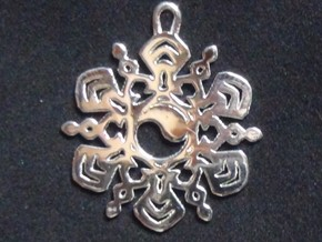 Yin Yang Snowflake Pendant in Polished Silver
