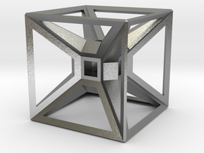 Tesseract Desk Sculpture in Natural Silver