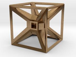 Tesseract Desk Sculpture in Natural Brass