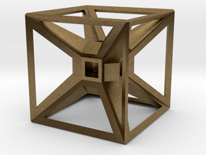 Tesseract Desk Sculpture in Natural Bronze