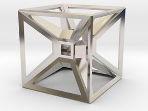Tesseract Desk Sculpture in Platinum