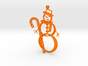 Candy Cane + Snowman ornament in Orange Strong & Flexible Polished