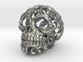 Steampunk Skull filigree in Natural Silver: Small