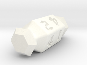 5 Sided Die in White Processed Versatile Plastic