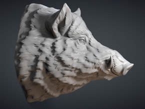 Wild Boar Wall Mount in White Natural Versatile Plastic