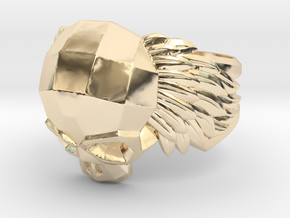 Winged Skull Ring in 14k Gold Plated Brass: 11.5 / 65.25