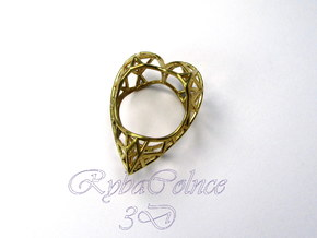 The Diamond Heart ring size 7 1/2 US (17.75 mm) in Polished Brass