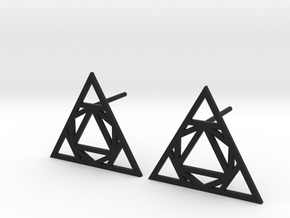 Triangle Stud Earrings in Black Natural Versatile Plastic