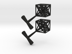 Hypercube Cuff Links in Black Natural Versatile Plastic