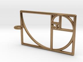 Golden Phi Spiral Rectangular Grid Pendant in Natural Brass: Small
