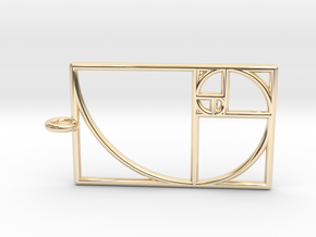 Golden Phi Spiral Rectangular Grid Pendant in 14K Yellow Gold: Small