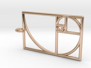 Golden Phi Spiral Rectangular Grid Pendant in 14k Rose Gold Plated Brass: Small