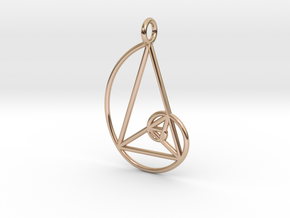 Golden Phi Spiral Isosceles Triangle Grid Pendant in 14k Rose Gold Plated Brass: Small