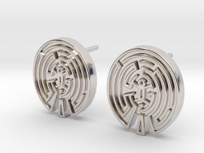 WestWorld Maze Earrings (studs) in Rhodium Plated Brass
