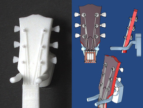 Guitar wall hanger - scale 1:6 in White Processed Versatile Plastic