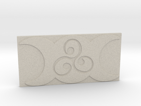 Triple Moon Triskele Tile by ~M. in Natural Sandstone