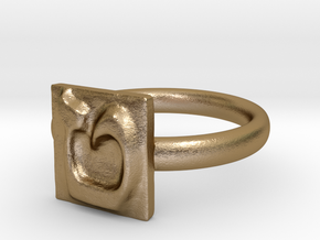09 Tet Ring in Polished Gold Steel: 7 / 54