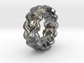 Y LINK Ring  in Fine Detail Polished Silver: 9 / 59