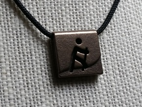 Hiking Pendant in Polished Bronze Steel