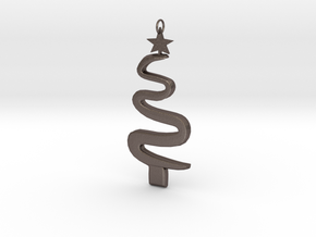 Christmas Tree Ornament in Polished Bronzed Silver Steel