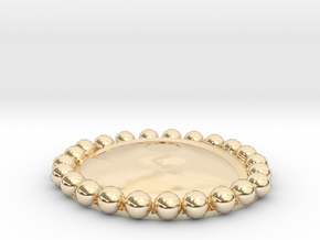 Eye Agamotto charm with beaded bezel in 14K Yellow Gold